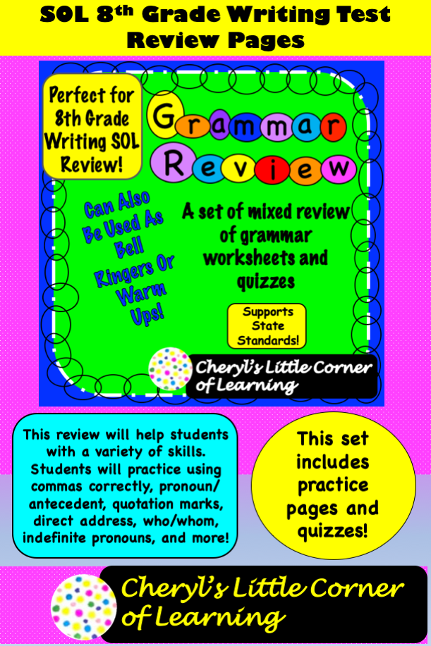 Grammar Reviews Sol Th Grade Writing Test In