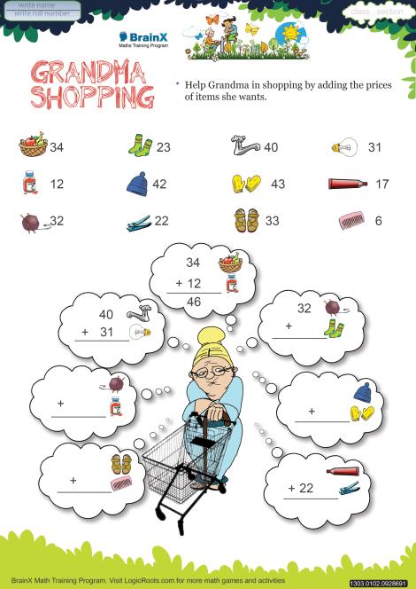 Grandma Shopping Math Worksheet For Grade