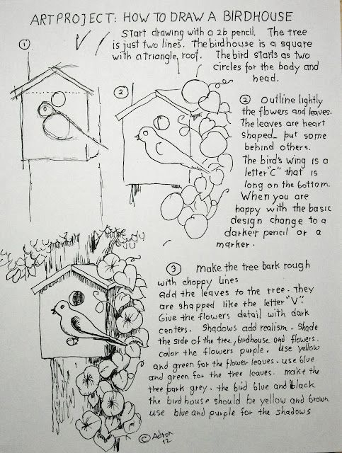 How To Draw A Birdhouse Project And Worksheet