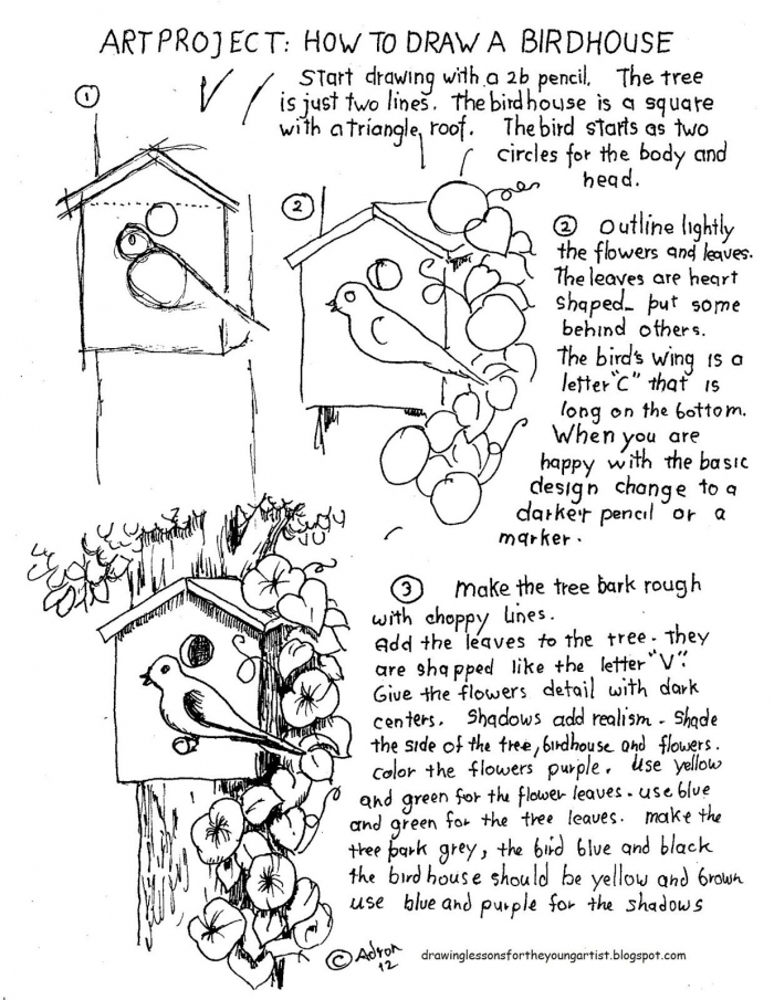 How To Draw A Birdhouse Project And Worksheet With Images