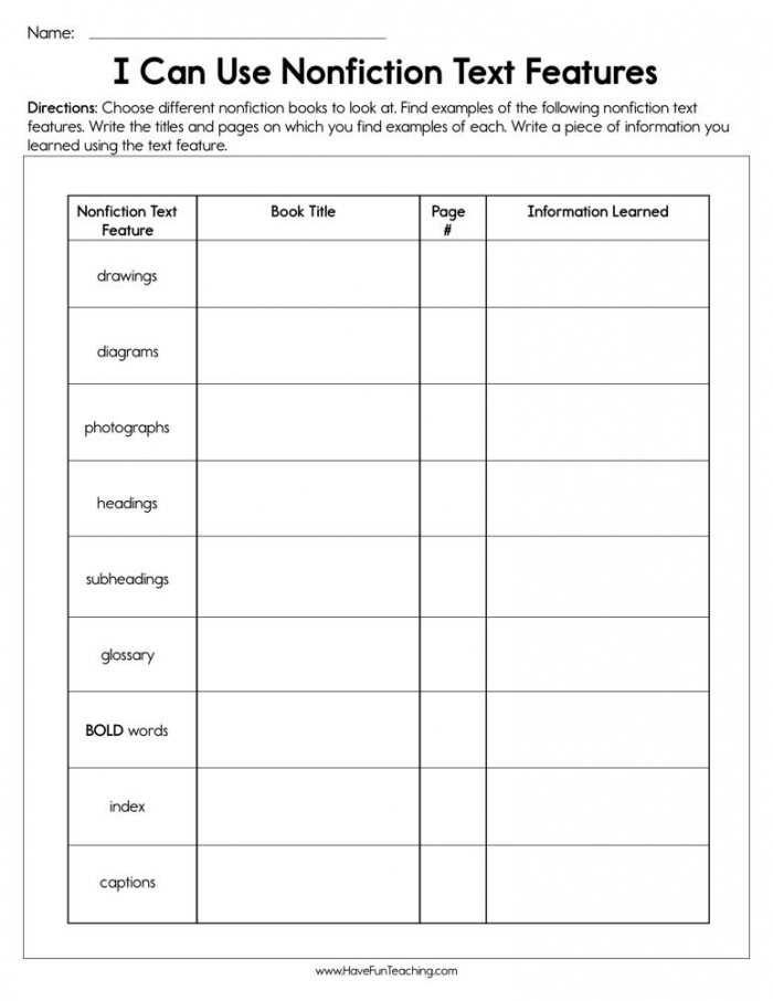 I Can Use Nonfiction Text Features Worksheet  Have Fun Teaching