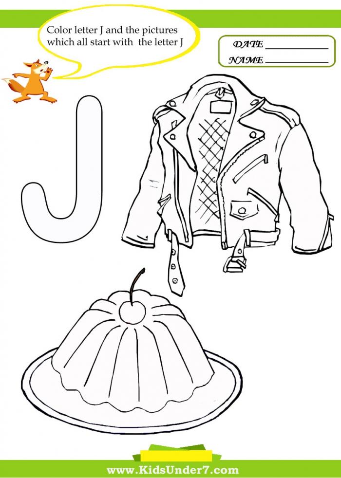 Kids Under  Letter J Worksheets And Coloring Pages