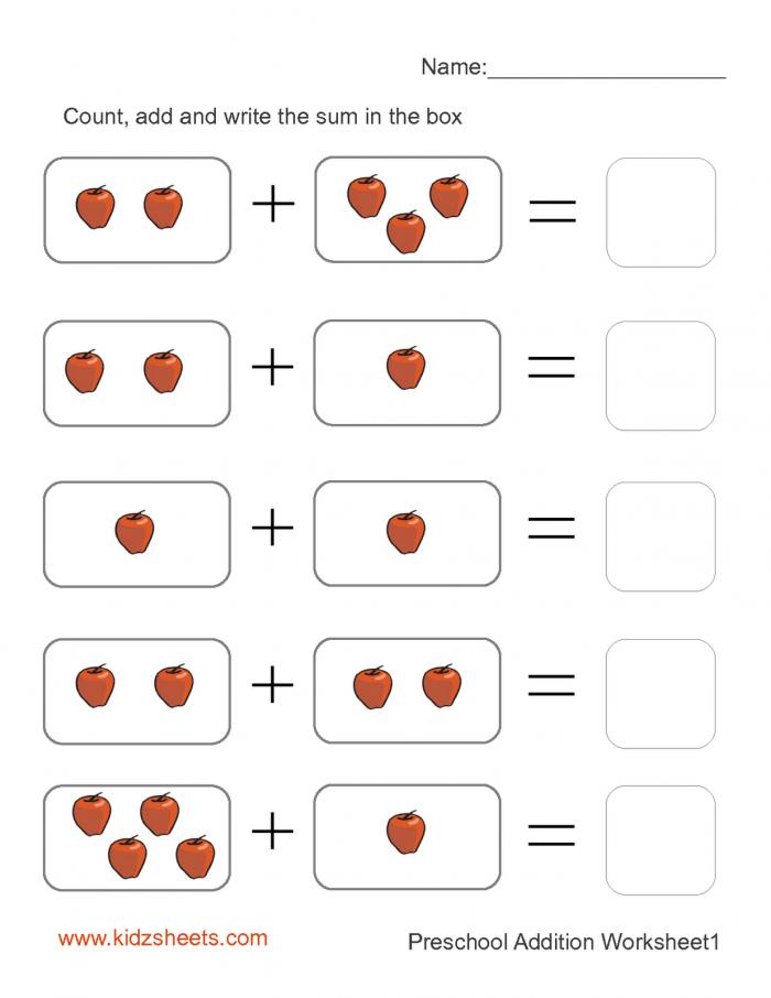 Preschool Addition #7 Worksheets 99Worksheets