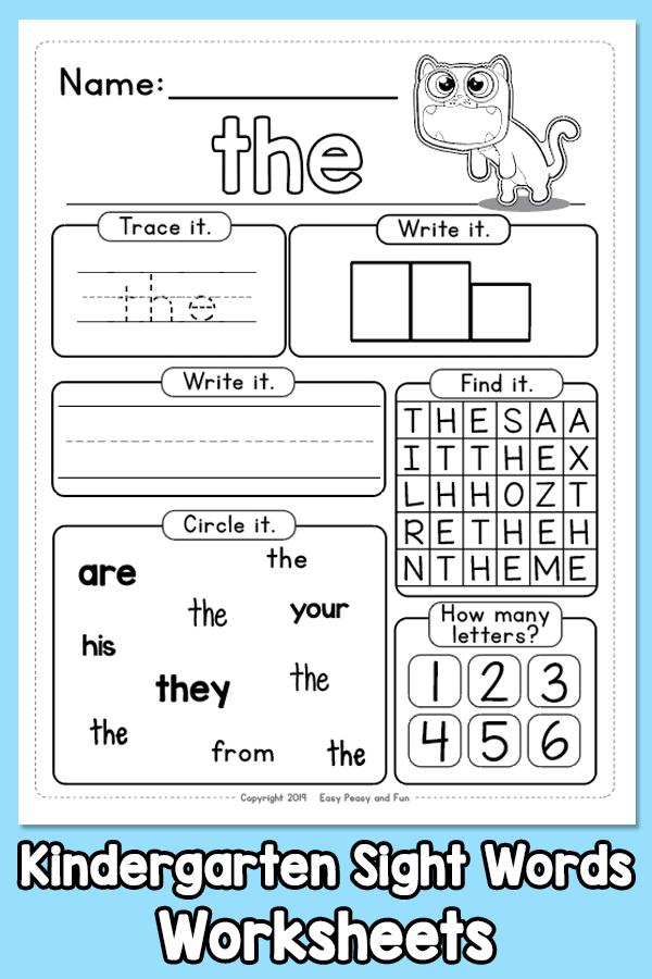 Kindergarten Sight Words: Not To Our Worksheets 99Worksheets