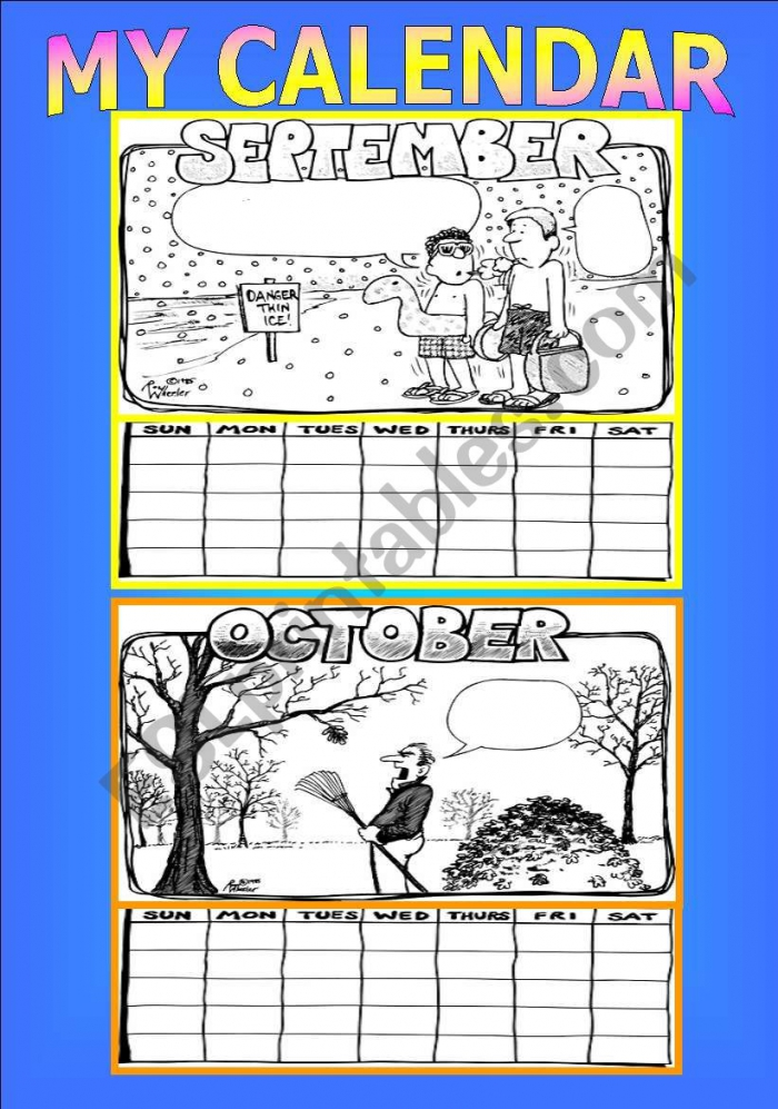 Make Your Own Calendar Activity Part  Of