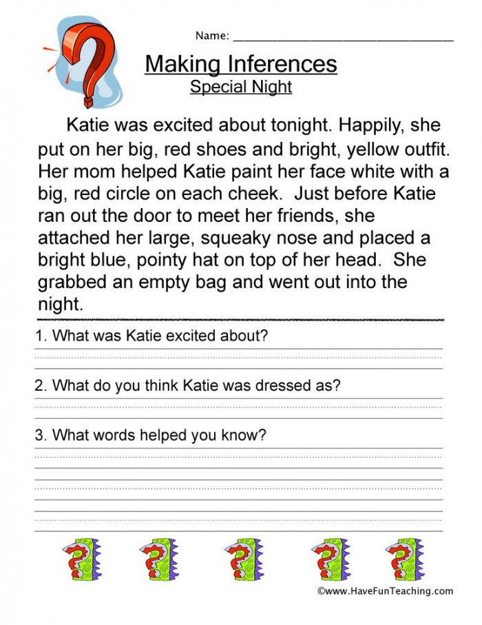 Making Inferences Special Night Worksheet  Have Fun Teaching