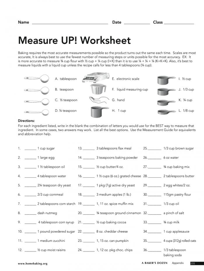 Measure Up Worksheet