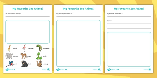 Middle Ability The Zoo Vet My Favorite Zoo Animal Writing Worksheet