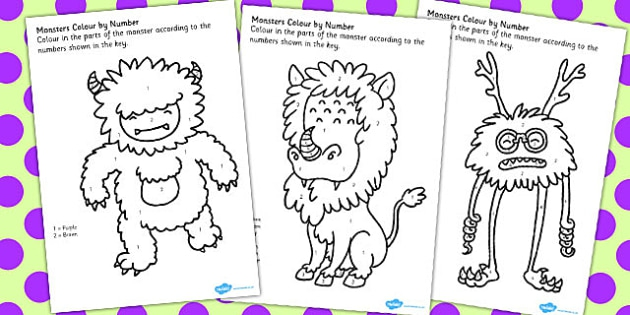 Monster Colour By Number Worksheets Teacher Made