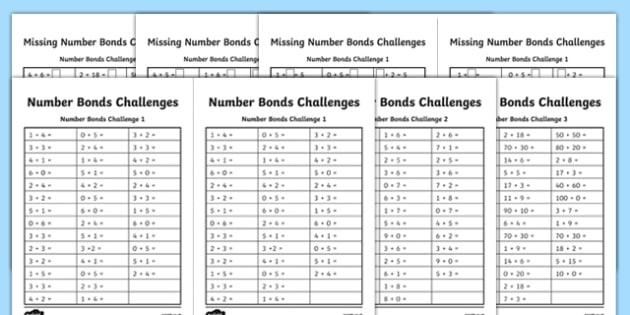 Number Bonds Challenge Worksheet  Worksheet Pack