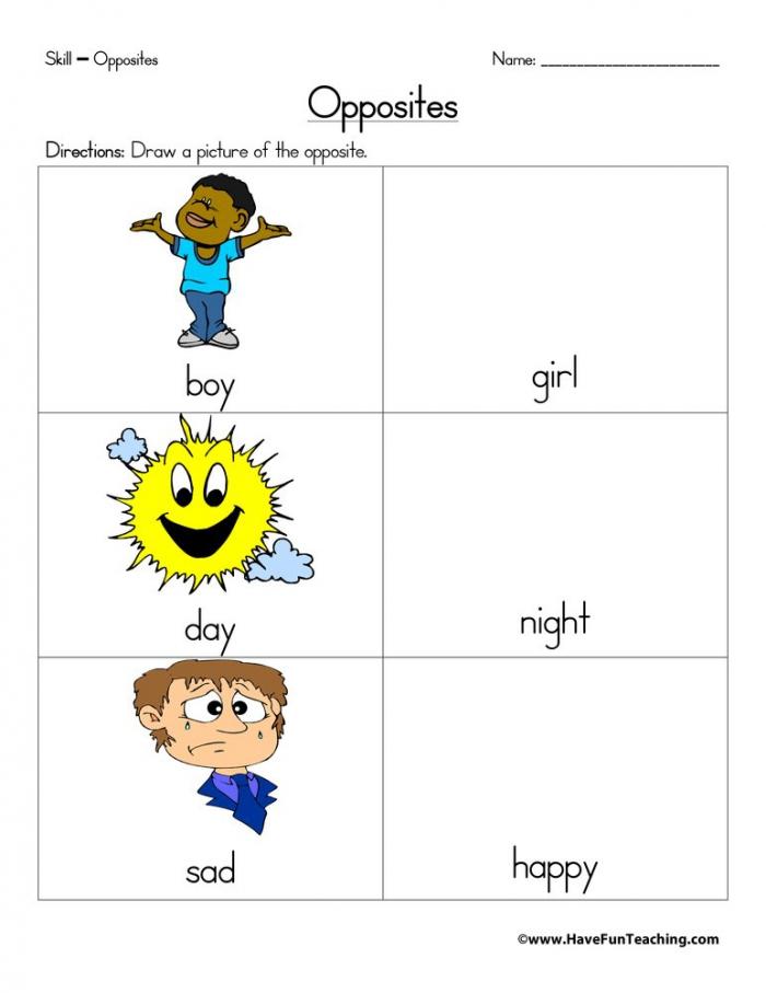 Opposites Drawings Worksheet  Have Fun Teaching