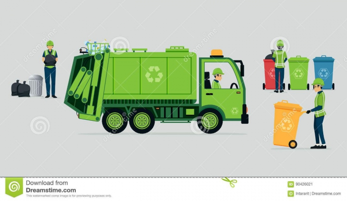 Photo About Garbage Truck Driver With Recycle Bins Illustration