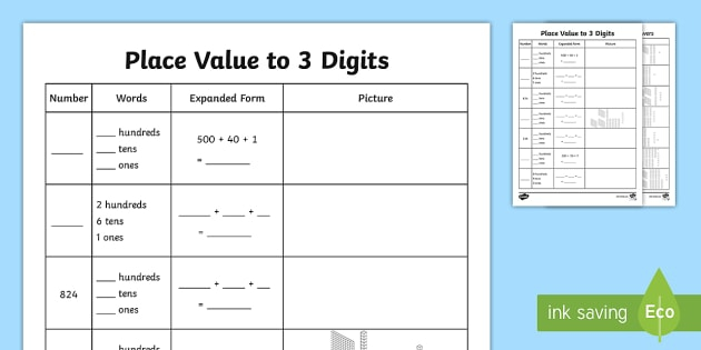 Place Value To  Digits Activity Teacher Made