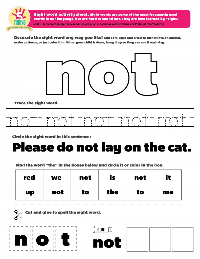 Please Do Not Lay On The Cat This Weeks Sight Word Not Sight