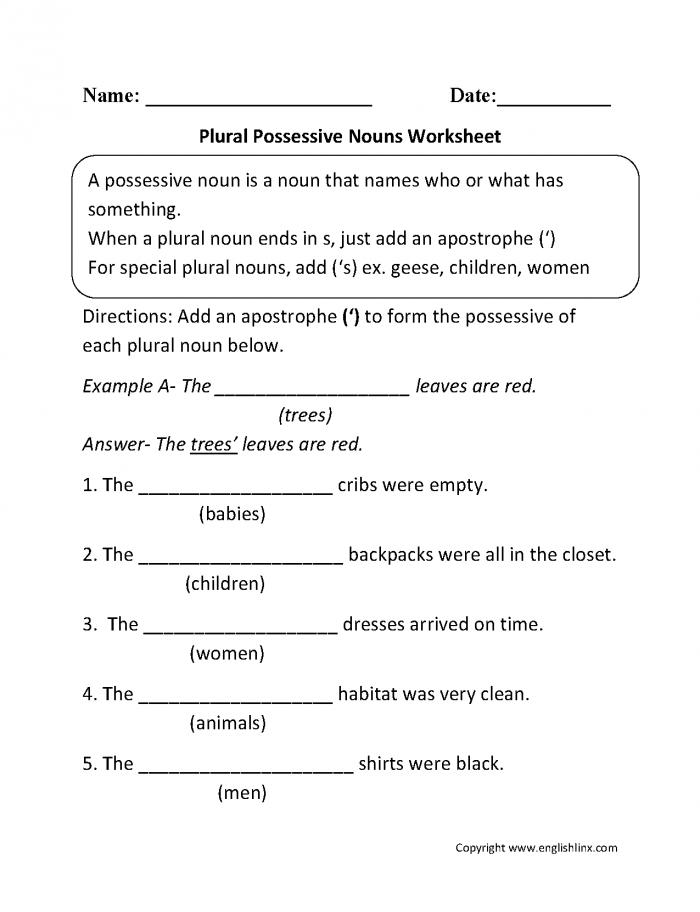 Possessive Nouns Worksheet Worksheets 99Worksheets