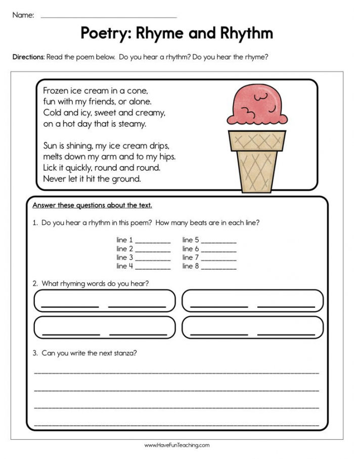 Poetry Rhyme And Rhythm Worksheet  Have Fun Teaching