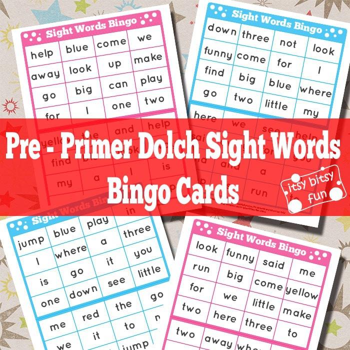 Pre Primer Sight Words Bingo Cards