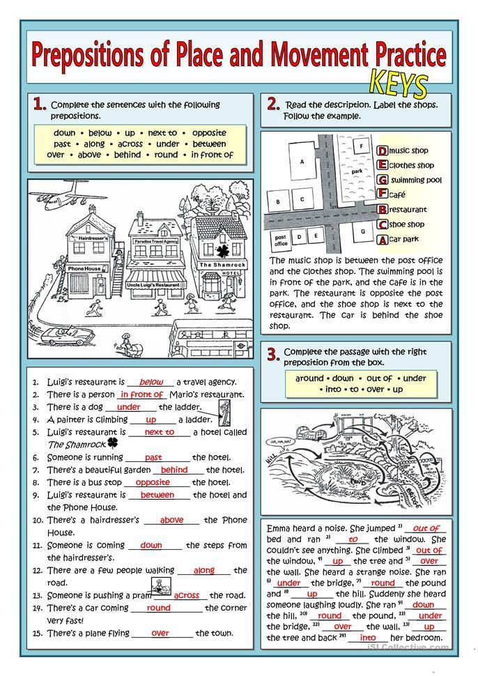 Prepositions Of Place And Movement Practice