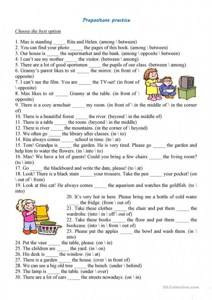 Prepositions Practice Worksheet