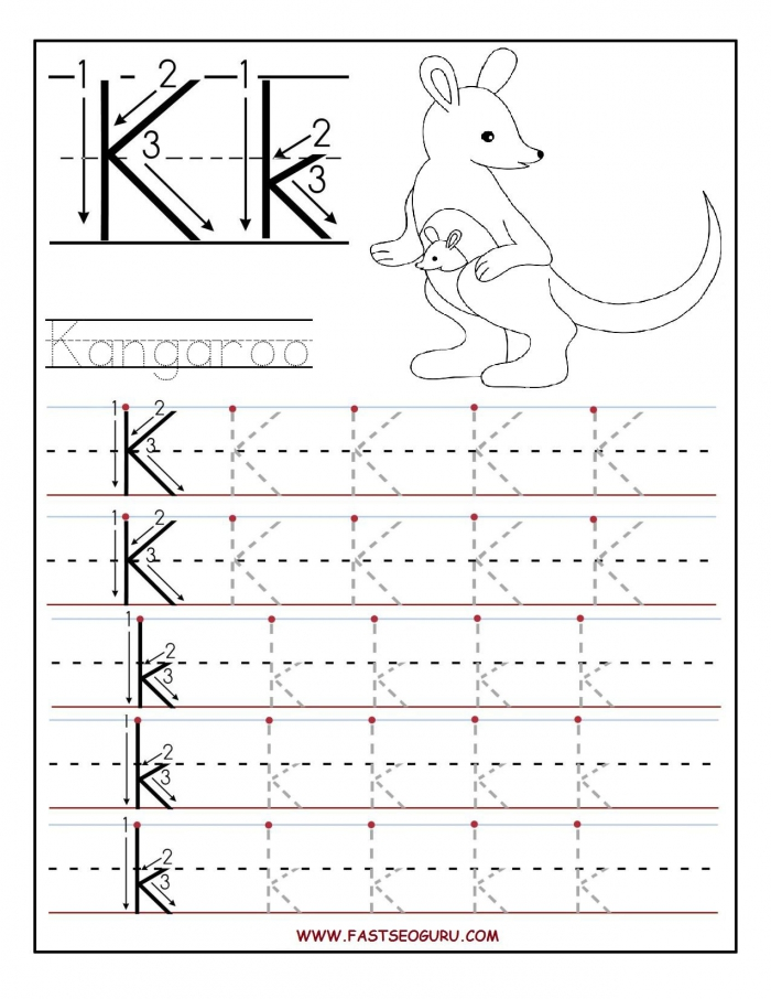 Printable Letter K Tracing Worksheets For Preschool With Images