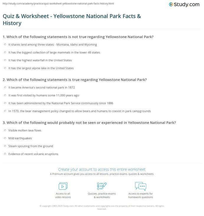 Quiz Worksheet National Facts History Worksheets Math Genius