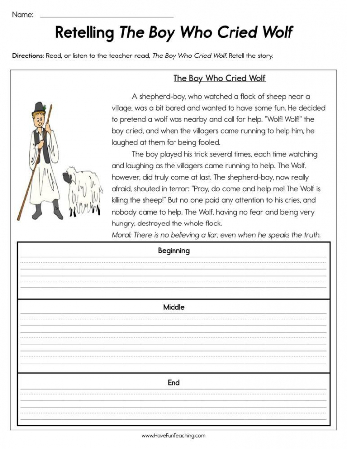 Retelling The Boy Who Cried Wolf Worksheet In