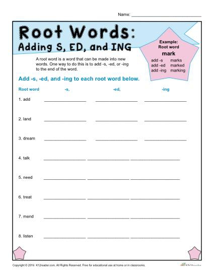 Root Words Worksheets Adding And Ing To Kumon Reading Levels Chart
