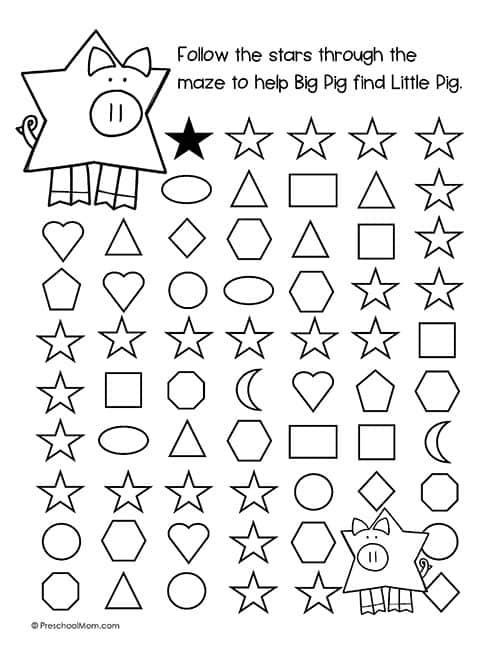 Shape Mazes For Preschoolers