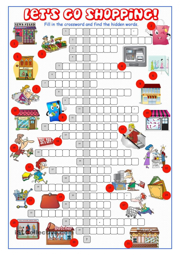 Shopping Crossword Puzzle