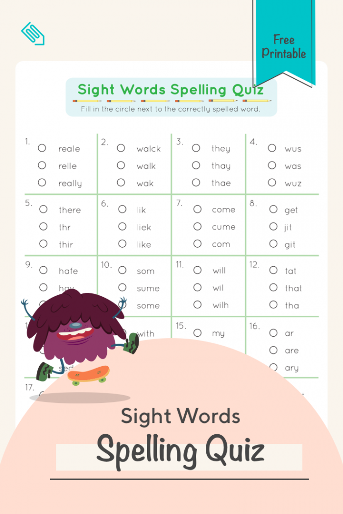 Sight Words Spelling Quiz With Images