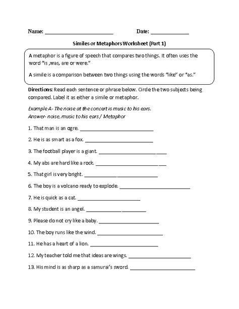 Metaphors And Similes Worksheets   99Worksheets