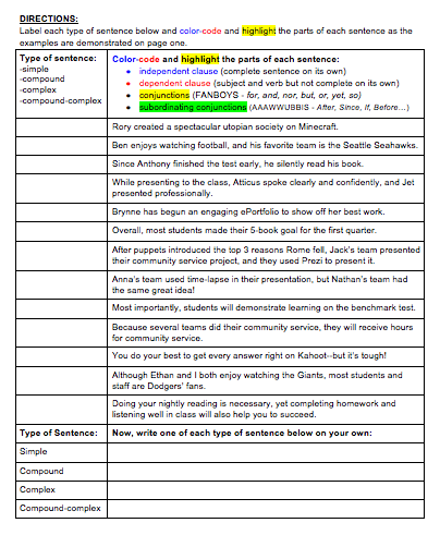 Simple Compound Complex Sentences Worksheets With Answers