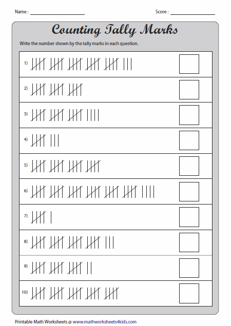 Simple Tally Chart Worksheets