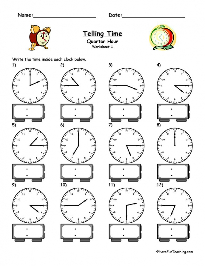 Telling Time To The Quarter Hour Worksheet  Have Fun Teaching
