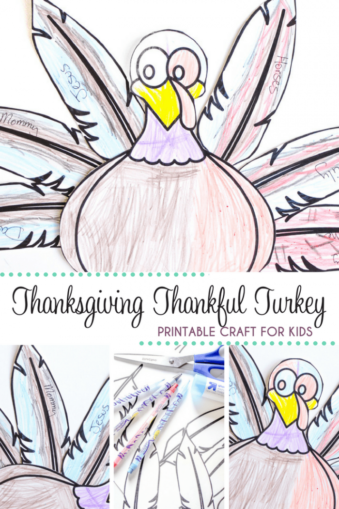 Thanksgiving Thankful Turkey Printable For A Fun Kids Craft