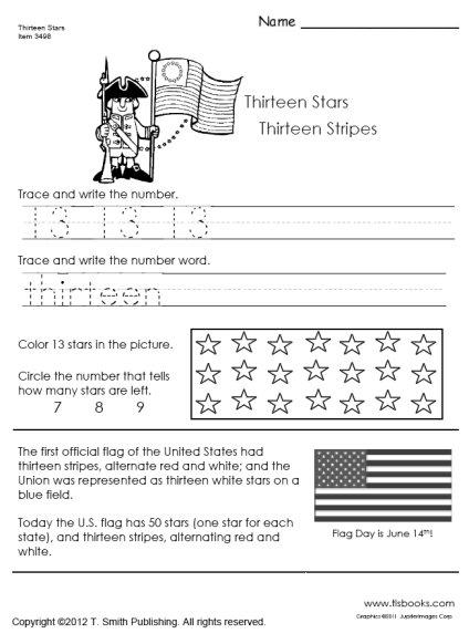 Thirteen Stars And Thirteen Stripes Worksheet