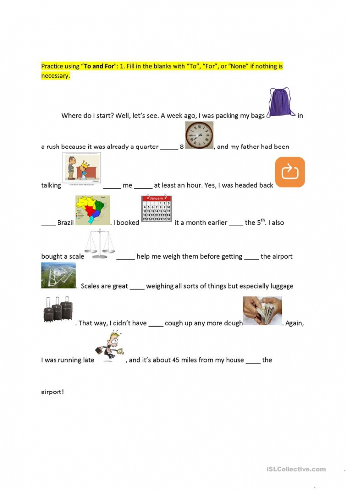 To Vs For Preposition Practice