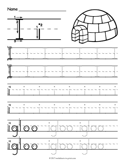 Tracing Letter I Worksheet