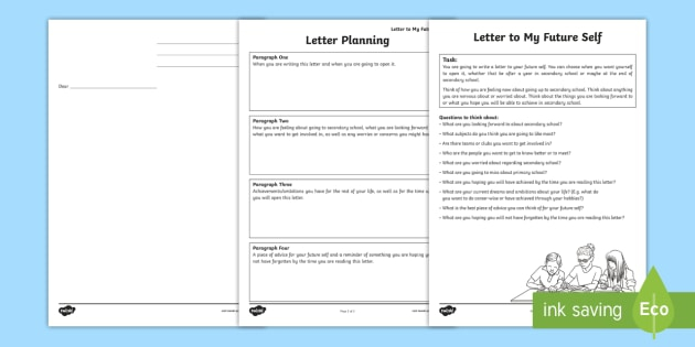 Transition To Secondary School Letter To My Future Self Worksheet