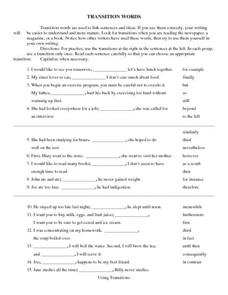 Transition Words Worksheet For Th