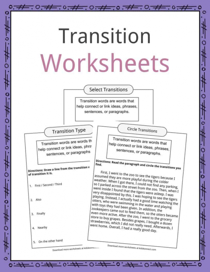 Transition Words Worksheets  Examples   Definition For Kids