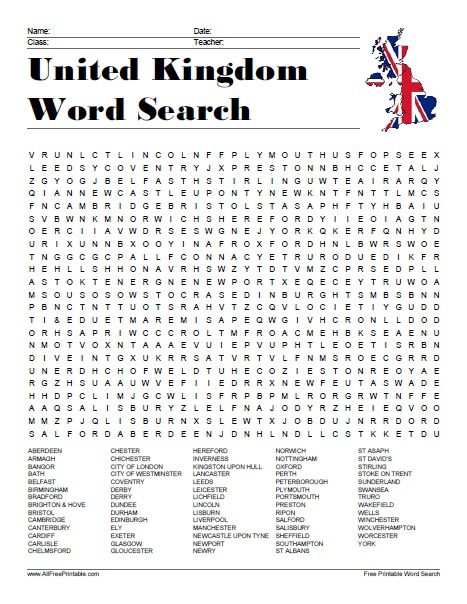 United Kingdom Cities Word Search