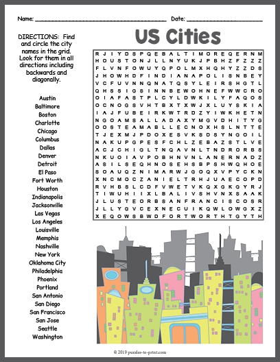Us Cities Word Search Puzzle