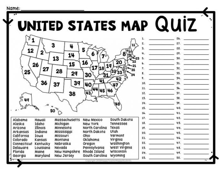 Us Map Game Gallery  States Map Quiz Us States Outline Map Quiz