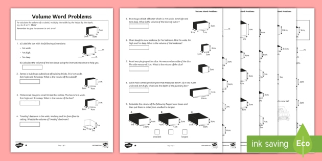 Volume Of Rectangular Prism Word Problem Worksheets