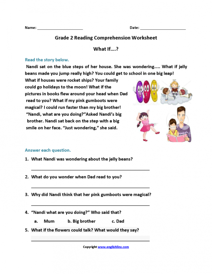 Worksheet  Nd What If Reading Worksheets Second Grade