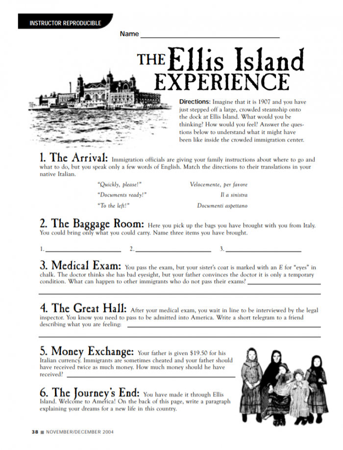 Worksheet On Ellis Island And Asking Students To Put Themselves In
