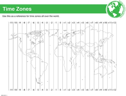 World Time Zone Map Worksheet