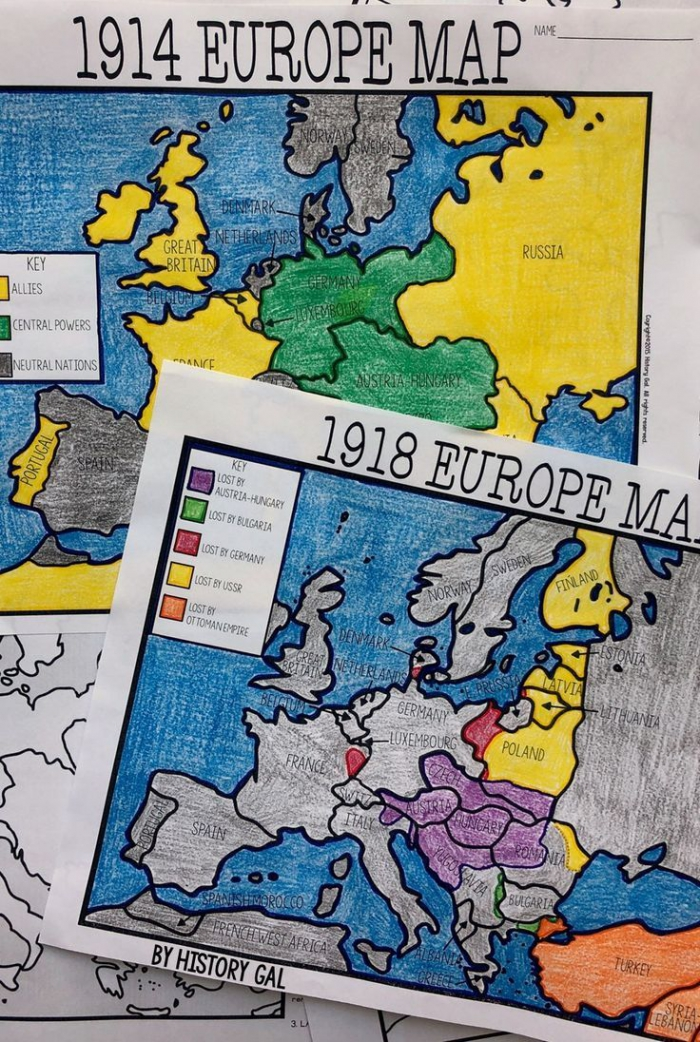 World War I Map Activity  And  Europe Maps