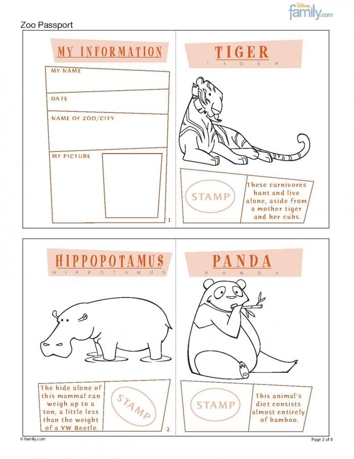 Zoo Printable Passport For Kids Page